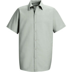 Red Kap® Men's Specialized Pocketless Polyester Work Shirt Short Sleeve Light Gray L SP26