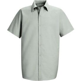 Red Kap® Men's Specialized Pocketless Polyester Work Shirt Short Sleeve Light Gray M SP26