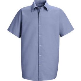 Red Kap® Men's Specialized Pocketless Polyester Work Shirt Short Sleeve Light Blue 6XL SP26