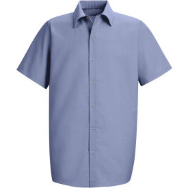 Red Kap® Men's Specialized Pocketless Polyester Work Shirt Short Sleeve Light Blue 2XL SP26