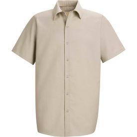 Red Kap® Men's Specialized Pocketless Polyester Work Shirt Short Sleeve Light Tan 3XL SP26
