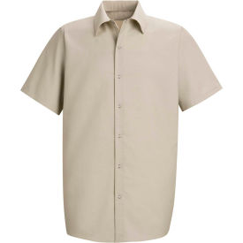 Red Kap® Men's Specialized Pocketless Polyester Work Shirt Short Sleeve Light Tan 2XL SP26
