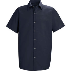Red Kap® Men's Specialized Pocketless Polyester Work Shirt Short Sleeve Navy XL SP26