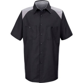 Red Kap® Men's Motorsports Shirt Short Sleeve Long-XL Silver/Black SP28