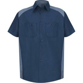 Red Kap® Men's Motorsports Shirt Short Sleeve Long-L Navy/Postman Blue SP28