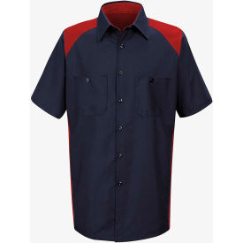Red Kap® Men's Motorsports Shirt Short Sleeve Long-XL Red/Navy SP28
