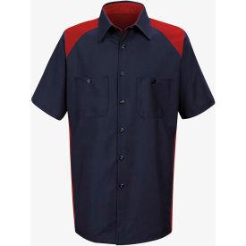 Red Kap® Men's Motorsports Shirt Short Sleeve Long-2XL Red/Navy SP28