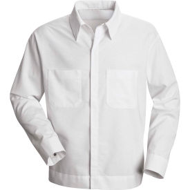 Red Kap® Men's Button-Front Shirt Jacket Long Sleeve White Regular-S - SP35