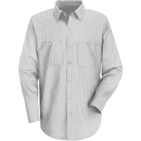 Red Kap® Men's Striped Dress Uniform Shirt Long Sleeve White/Charcoal Stripe Regular-2XL SP50