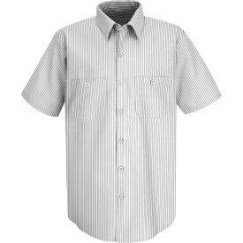 Red Kap® Men's Striped Dress Uniform Shirt Short Sleeve White/Charcoal Stripe Long-XL SP60