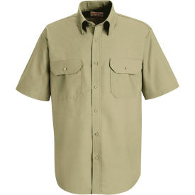 Red Kap® Men's Solid Dress Uniform Shirt Short Sleeve Light Tan Long-L SP60