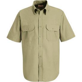 Red Kap® Men's Solid Dress Uniform Shirt Short Sleeve Light Tan Long-2XL SP60
