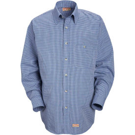 Red Kap® Men's Mini-Plaid Uniform Shirt Long Sleeve White/Blue L-345 SP74
