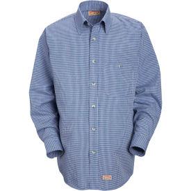 Red Kap® Men's Mini-Plaid Uniform Shirt Long Sleeve White/Blue 2XL-367 SP74
