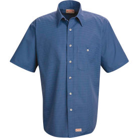 Red Kap® Men's Mini-Plaid Uniform Shirt Short Sleeve Gray/Blue 2XL SP84