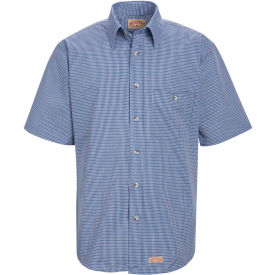 Red Kap® Men's Mini-Plaid Uniform Shirt Short Sleeve White/Blue 3XL SP84