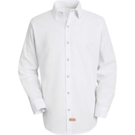 Red Kap® Men's Specialized Pocketless Polyester Work Shirt Long Sleeve White Regular-XL SS16