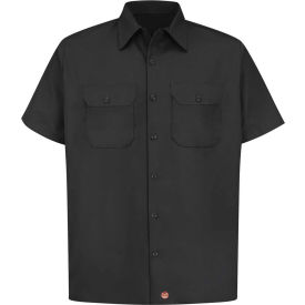 Red Kap® Men's Utility Uniform Shirt Short Sleeve Black XL ST62