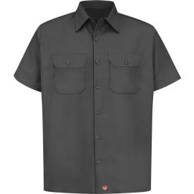 Red Kap® Men's Utility Uniform Shirt Short Sleeve Charcoal 2XL ST62