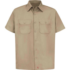 Red Kap® Men's Utility Uniform Shirt Short Sleeve Khaki 4XL ST62