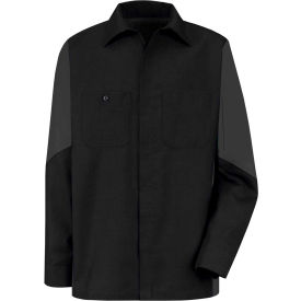 Red Kap® Men's Crew Shirt Long Sleeve Long-2XL Black/Charcoal SY10