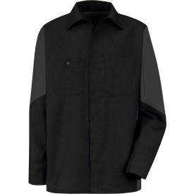 Red Kap® Men's Crew Shirt Long Sleeve Regular-L Black/Charcoal SY10