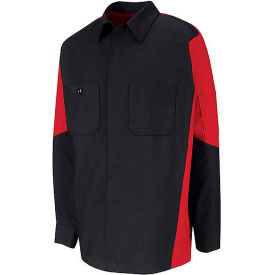 Red Kap® Men's Crew Shirt Long Sleeve Long-2XL Black/Red SY10