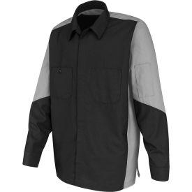 Red Kap® Men's Crew Shirt Long Sleeve Regular-L Charcoal/Light Gray SY10
