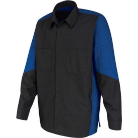 Red Kap® Men's Crew Shirt Long Sleeve Long-2XL Charcoal/Royal Blue SY10