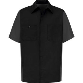 Red Kap® Men's Crew Shirt Short Sleeve Long-L Black/Charcoal SY20
