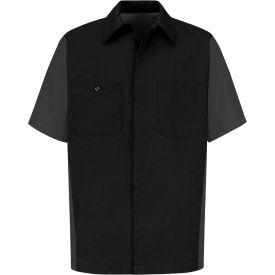 Red Kap® Men's Crew Shirt Short Sleeve Long-2XL Black/Charcoal SY20