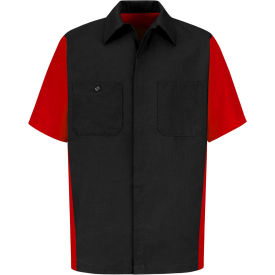 Red Kap® Men's Crew Shirt Short Sleeve Long-XL Black/Red SY20