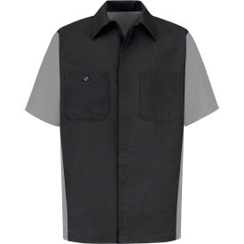 Red Kap® Men's Crew Shirt Short Sleeve Long-L Charcoal/Light Gray SY20