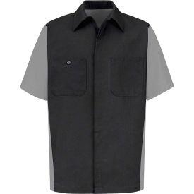 Red Kap® Men's Crew Shirt Short Sleeve Long-2XL Charcoal/Light Gray SY20