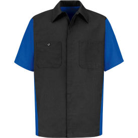 Red Kap® Men's Crew Shirt Short Sleeve L Charcoal/Royal Blue SY20