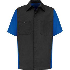 Red Kap® Men's Crew Shirt Short Sleeve Long-2XL Charcoal/Royal Blue SY20