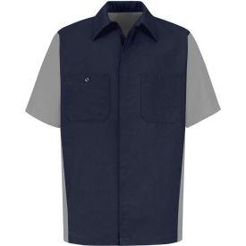 Red Kap® Men's Crew Shirt Short Sleeve Long-XL Navy/Gray SY20