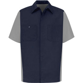 Red Kap® Men's Crew Shirt Short Sleeve Long-2XL Navy/Gray SY20