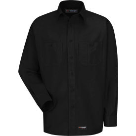 Wrangler® Men's Canvas Long Sleeve Work Shirt Black Regular-2XL-WS10BKRGXXL