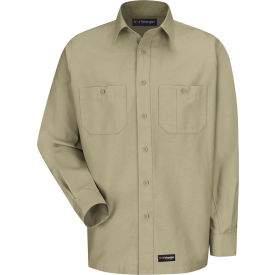 Wrangler® Men's Canvas Long Sleeve Work Shirt Khaki Regular-S-WS10KHRGS
