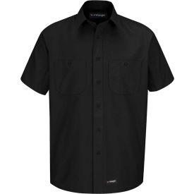 Wrangler® Men's Canvas Short Sleeve Work Shirt Black 4XL-WS20BKSS4XL