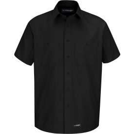 Wrangler® Men's Canvas Short Sleeve Work Shirt Black 2XL-WS20BKSSXXL