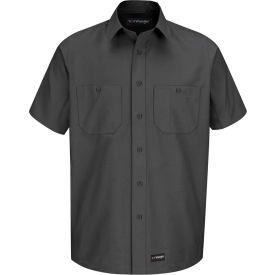 Wrangler® Men's Canvas Short Sleeve Work Shirt Charcoal Long-XL-WS20CHSSLXL
