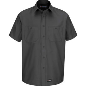 Wrangler® Men's Canvas Short Sleeve Work Shirt Charcoal 2XL-WS20CHSSXXL