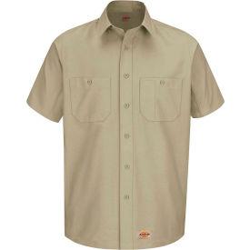 Wrangler® Men's Canvas Short Sleeve Work Shirt Khaki L-WS20KHSSL