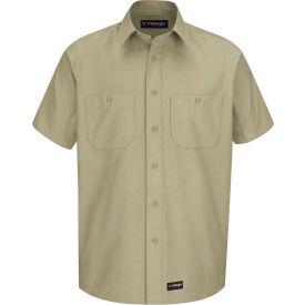 Wrangler® Men's Canvas Short Sleeve Work Shirt Khaki Long-L-WS20KHSSLL