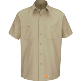 Wrangler® Men's Canvas Short Sleeve Work Shirt Khaki Long-XL-WS20KHSSLXL