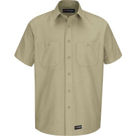 Wrangler® Men's Canvas Short Sleeve Work Shirt Khaki Long-2XL-WS20KHSSLXXL