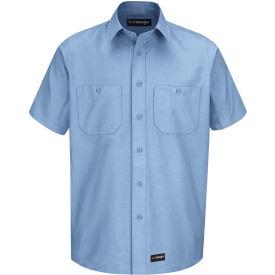 Wrangler® Men's Canvas Short Sleeve Work Shirt Light Blue Long-2XL-WS20LBSSLXXL