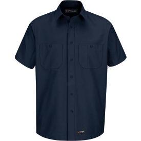 Wrangler® Men's Canvas Short Sleeve Work Shirt Navy 3XL-WS20NVSS3XL